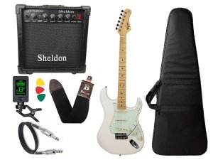 kit Guitarra Tagima TG 530 Woodstock Branco Cubo Sheldon