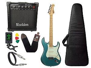 kit Guitarra Tagima TG 530 Woodstock Azul Cubo Sheldon