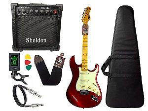 kit Guitarra Tagima TG 530 Woodstock Vermelho Cubo Sheldon