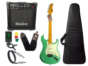 kit Guitarra Tagima TG 530 Woodstock Surf Green Cubo Sheldon