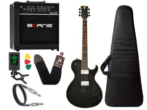 Kit Guitarra Lespaul Phx Lp310 Preto Cubo Amplificador Borne