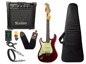 Kit Guitarra Canhoto Tagima Mg32 Vermelho cubo caixa sheldon