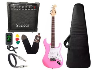 Kit Guitarra Tagima Memphis Mg32 Rosa amplificador Sheldon