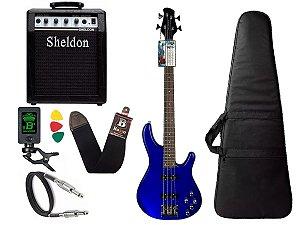 Kit Baixo Tagima Millenium 4 Azul Ativo Amplificador Sheldon