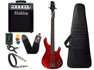 Kit Baixo Tagima Millenium 4 Vermelho Amplificador Sheldon