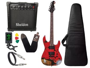 Kit Guitarra Marvel iron man homem ferro phx Cubo sheldon