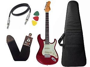 Kit guitarra tagima t635 Vermelho escala Escura capa correia