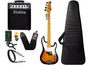 Kit Baixo Tagima TW66 Woodstock Sunburst 4 Cordas Sheldon