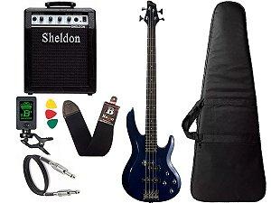 Kit Baixo Phx BS 4 Cordas Ativo Azul Amplificador Sheldon