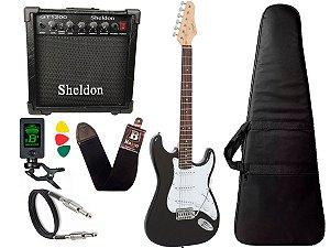 Kit Guitarra Giannini G100 Strato Preto Amplificador Sheldon