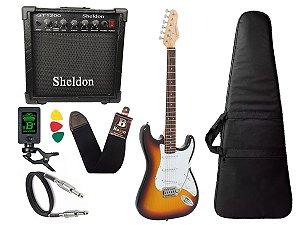Kit Guitarra Giannini G100 Strato Sunburst Cubo Sheldon