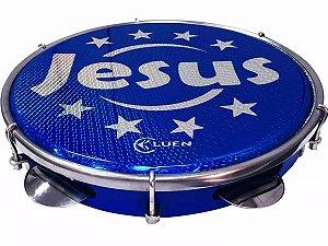 Pandeiro Luen Jesus 10 Polegadas Aro Abs Holográfica Azul