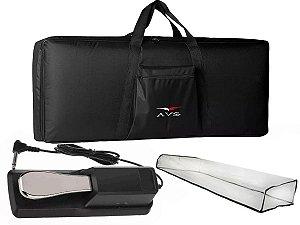 Kit Teclado 5/8 Bag Acolchoado Pedal Sustain Capa Cobertura