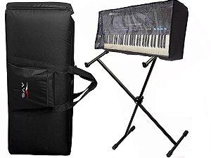 Kit Teclado 5/8 Bag Luxo Avs Suporte Pedestal Ibox Cobertura