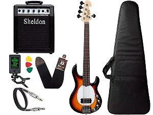 Kit Baixo Ativo Tagima Tbm5 Sunburst amplificador Sheldon
