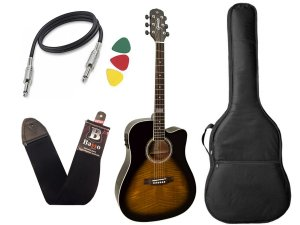 Kit Violao Giannini Gf1d Ceq Folk Sunburst Afinador Regulado
