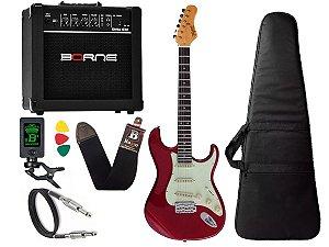 Kit guitarra tagima t635 Vermelho escala Escura cubo borne