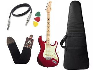 Kit guitarra tagima t635 Vermelho escala Clara capa correia
