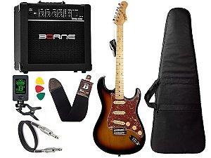 Kit Guitarra tagima t635 Sunburst cubo amplificador borne