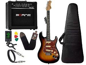 Kit Guitarra tagima t635 Sunburst caixa amplificador borne