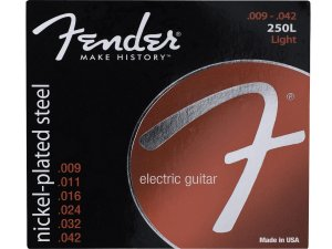 Encordoamento cordas fender Guitarra 09 aço 250L light Níquel