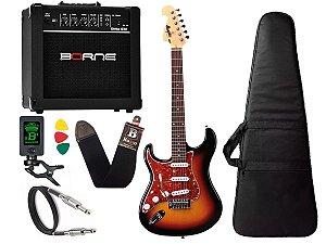 Kit Guitarra Canhoto Tagima Memphis Mg32 Lh Sunburst Borne