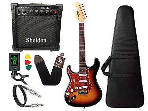Kit Guitarra Canhoto Tagima Mg32 Sunburst Cubo Sheldon Capa