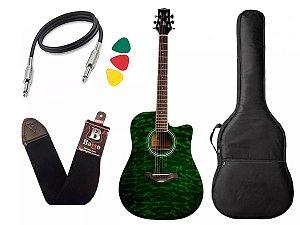 Kit Violão Folk Elétrico Phx  J. White Anatômico verde bag
