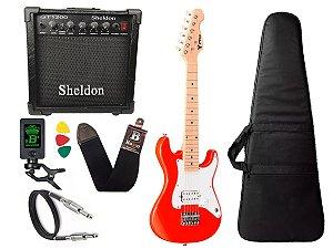 Guitarra Elétrica Infantil Vermelha Caixa Amplificador sheldon
