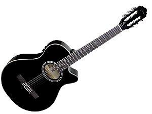 violão nylon eletrico giannini gnf-1d preto mini jumbo
