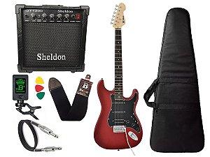 Kit Guitarra Phx Strato Power St H Sth Vermelho Cubo Sheldon