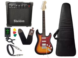 Kit Guitarra Phx Strato Power St H Sth Sunburst Cubo Sheldon