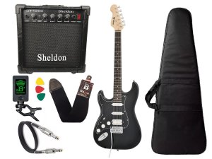 Kit Guitarra Canhoto Phx Strato Power St H Sth Preto Cubo Sheldon