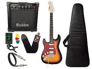 Kit Guitarra Canhoto Phx Strato Power St H Sth Sunburst Cubo Sheldon