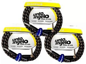3 Cabos Santo Angelo Textil 4.57m P10 90l Guitarra Baixo Violão