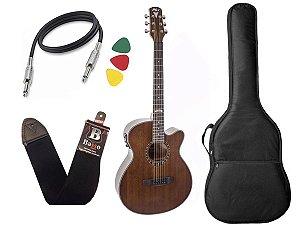 Kit Violao Eletrico Aço Phx Px188 Eq 84 Marrom Bag
