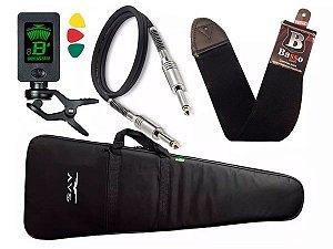 Kit Capa guitarra bag Acolchoada Avs Afinador Correia Basso Cabo