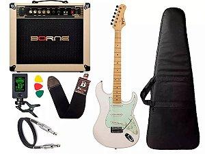 Kit Guitarra Tagima Tg530 Branco Cubo Borne Vorax 1050 w