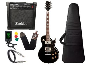 Guitarra les paul golden preto fosco gld151c stbk Cubo Sheldon