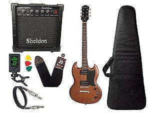Guitarra sg Epiphone Ve special Walnut caixa amplificador sheldon