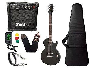 Guitarra les paul Epiphone Special VE Preto caixa amplificador sheldon