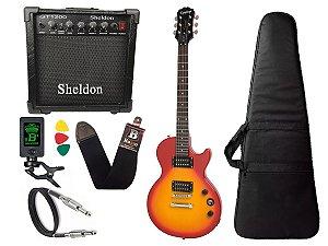 Guitarra les paul Epiphone Special VE Sunburst caixa amplificador sheldon