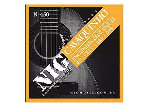 Encordoamento Cavaquinho Nig N450 Cordas De Aço C/ Bolinha 3ª (sol) Brinde