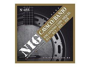Encordoamento Cavaco E Banjo Nig N455 Cordas De Aço Bolinha 011 028 3ª G extra