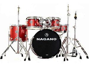 Bateria Nagano Garage Gig Bumbo 18 10 12 13 14 wine sparkle vermelha