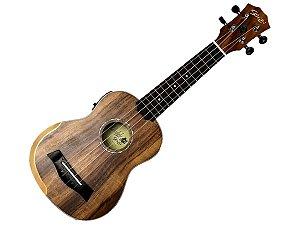 Ukulele eletrico Seizi Bora Bora concert Natural Fosco capa afinador