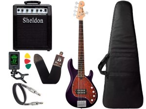 Kit Contra Baixo Phx Msr Five Msr5 Roxo Amplificador Caixa Sheldon