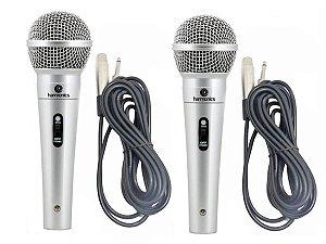2 Microfones Profissionais Harmonics com 2 Cabos stereo 4,5m