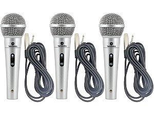 3 Microfones Profissionais Harmonics com 3 Cabos stereo 4,5m
