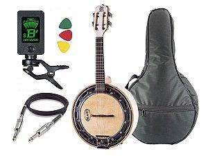 Banjo Elétrico Rozini Branco Rj11 Afinador Capa Cabo Palheta